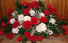 2 Sided Valentines Day Tombstone Saddle Cemetery Flowers Red White Roses Carn