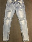 Mens vintage washed crush Fog fear of god skinny Slim fit Destroy Rip Jeans W34