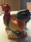 Fitz and Floyd Rooster Coq Du Village Napkin Holder Fall Harvest Vintage Classic