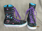 GIRLS BLACK SIDE ZIP HIGH TOP TENNIS SHOES SNEAKERS PURPLE GLITTER LACES SIZE 1