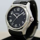 Authentic Men's Ebel 1911 E9187251 Date Stainless Steel Watch BLACK DIAL LEATHER