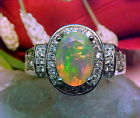 NATURAL ETHIOPIAN FACETED OPAL RING AAA++ 9.2x7.5mm & WHITE SAPPHIRE 925 SS