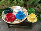 Set of 6 Fiesta Cups And Saucers 12 Pieces Fiestaware Multi Colors USA