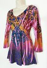 PRETTY ONE WORLD PINK VIOLET CORAL BOHO PAISLEY CRYSTAL POLY CAREER TOP MEDIUM