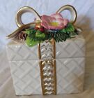 Fitz and Floyd Candy Box with Gold Ribbon Christmas Wreath Cream Square