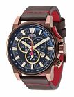 DETOMASO BOTTONE Mens Chronograph XL Watch Tachymeter, Brown Stainless Steel and