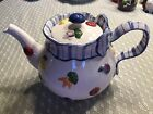 Fitz & Floyd Petits Vegs Lidded Teapot Blue Ribbon Hand-painted raised vegetable