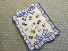 Fitz & Floyd Petits Vegs Rectangle Plate Blue Ribbon Hand-painted raised veggies