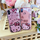 Cute Hello Kitty Shimmering Soft TPU Back Case Cover for iPhone X 8 XR XS Max 7