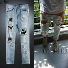 ByTheR Mens Urban Street Damage Ripped Vintage Wash Blue Straight Denim Jean