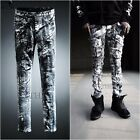 ByTheR Mens Urban White Painting Custom Vintage Style Slim Skinny Denim Jean