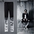 ByTheR Mens Urban Vintage White Paint Custom Knife Damage Slim Black Denim Jean