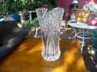 HEAVY PRESSED GLASS FANCY FLOWER VASE WITH FLOWER DESIGN