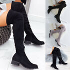 Women Over The Knee Stretch Thigh High Heel Boots Pointed Toe Lace Up Boot Shoes