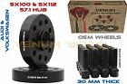 30mm Audi 5x100 5x112 571 Hub Black HubCentric Wheel Spacers W Extended Bolts