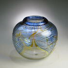 Beautiful Blue and Gold CORREIA ART GLASS VASE Pulled Feathered 1981 Collectible