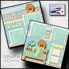 SLEEPY HEAD BABY BOY 2 premade scrapbook pages paper piecing layout CHERRY 0096