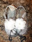 Toddler Girls Size 9 OR 10 Clear  Glittery Silver Jelly Sandals NWT