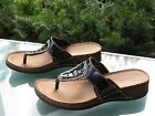 CLARKS Womens Black Leather Shiny Thong Sandals size 8
