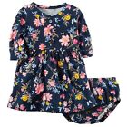 Carters Baby Girl Long Sleeve Floral Navy Blue Dress w Diaper Cover NWT