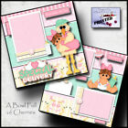SPECIAL DELIVERY baby girl 2 premade scrapbook pages paper printed layout CHERRY