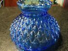 Vintage Blue Glass Hurricane Lamp Shade Quilted Pattern