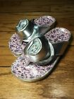 New Pliner JRS Girls Stylish CELEA Nappa Leather Thong Sandal sz 31 Silver Italy