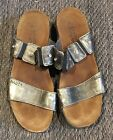Naot Ashley Metal Leather Double Strap Slide Sandals Womens 38 US 7