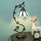 Tiffany Style Lamp Arched Light Blue Floral Leaf Lotus Shape Stained Glass Decor