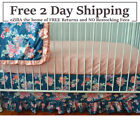 Flora Coral and Navy Crib Bedding Set Flora Blue