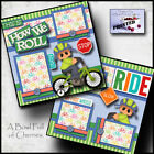 HOW WE ROLL bicycle BOY 2 premade scrapbook printed pages paper layout CHERRY