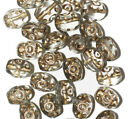 Gilded Transparent Gray Oval Czech Pressed Glass Beads 10mm pack of 30