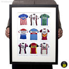 Iconic Vintage Cycling Jersey Print Poster Brooklyn Bianchi Sanson Raleigh