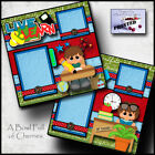 SCHOOL boy teacher 2 premade scrapbooking pages paper printed layout CHERRY