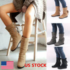 US Ladies Mid Calf Boots Women Lace Up Low Heel Buckle Shoes Warm Winter Boots