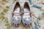 HALLOWEEN CAT KITTEN COSTUME Toddler Baby Girl 6 Mary Jane Gray Flats Shoes CUTE
