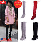 US Womens Suede Over The Knee Boots Block High Heels Lace Up Thigh Stretch Shoes