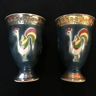Antique Pair Signed Japanese Satsuma Pottery Sake Wine Cups Seizan Kiln Japan