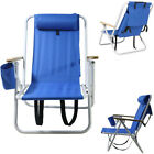Portable Beach Chair Backpack Folding Seat Camping Hiking Blue Solid Construct