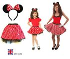 RED BOW MOUSE TUTU COSTUME Kids Teens Fancy Dress Halloween Accessory Set UK