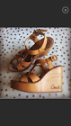 Coach authentic designer mayra wood and leather wedge heels