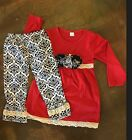 BN 2 Piece Red Black Ruffled L Sleeve Boutique Brand Pant Set L 4 5T
