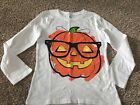 The Childrens Place Glitter Pumpkin Glasses Halloween Top EUC Sz 7 8Y Girls
