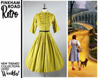 vintage 50s yellow cotton pinup day dress 1950s rockabilly fit and flare tea