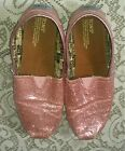 Girls TOMS Classic Glitter pink shoes Size Youth 4 Women 6