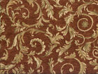 Drapery Upholstery Fabric Chenille Jacquard w Scrolling Leaves Terracotta