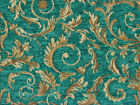 Drapery Upholstery Fabric Chenille Jacquard w Scrolling Leaves Turquoise