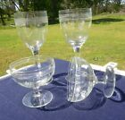 1910 Antique Etched Crystal Clear Glass STEMWARE 2 Dessert  16 Water Glasses