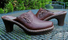 NICOLE Chocolate Brown LEATHER Mules Slip On Heeled Clog Shoes Womens 85M