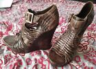 Mia Limited Edition Shoes Size 9 Brown Distressed Leather Wood Wedge Sandals